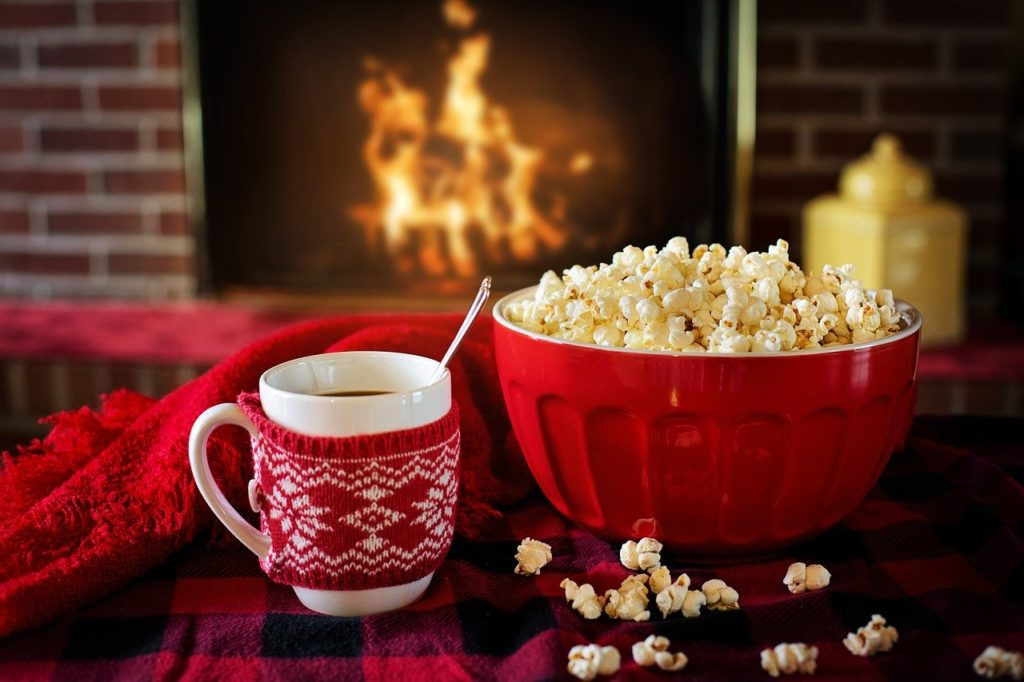 warm and cozy, popcorn, coffee